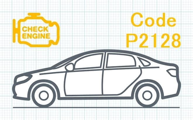 """Код ошибки P2128 – высокий уровень сигнала в цепи датчика """"E"""" положения дроссельной заслонки либо педали акселератора"""