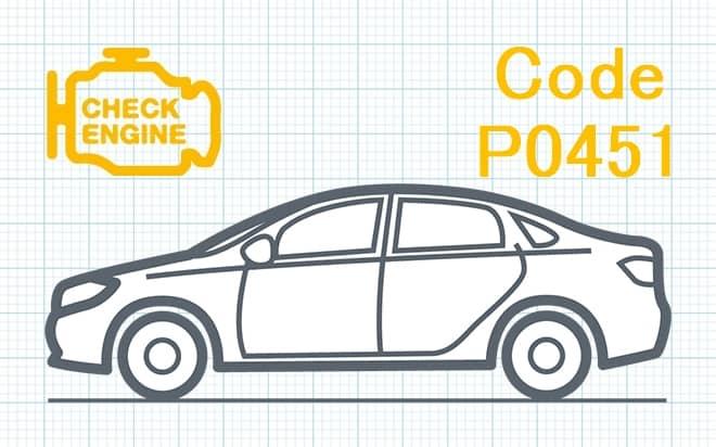 Код ошибки P0451 – несоответствие диапазона рабочих характеристик датчика давления системы улавливания паров топлива
