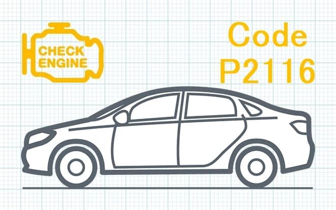 """Код ошибки P2116 – неисправность датчика """"E"""" положения дроссельной заслонки либо педали акселератора при минимальной остановке"""
