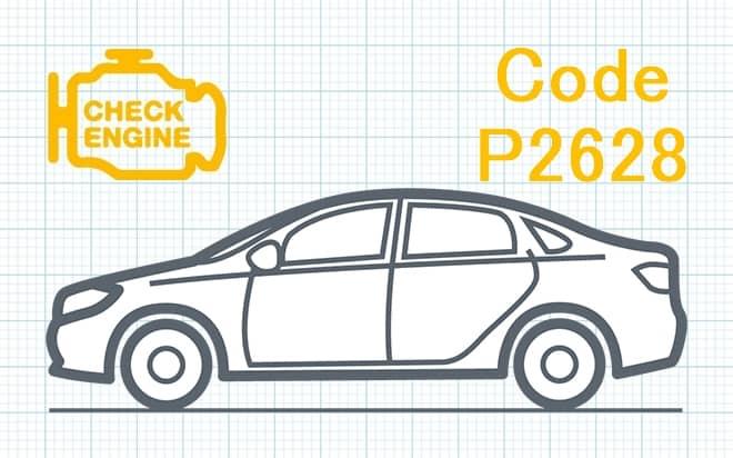 Код ошибки P2628 – высокий уровень сигнала компенсирующей цепи тока накачки датчика кислорода O₂ (Банк 1, Датчик 1)