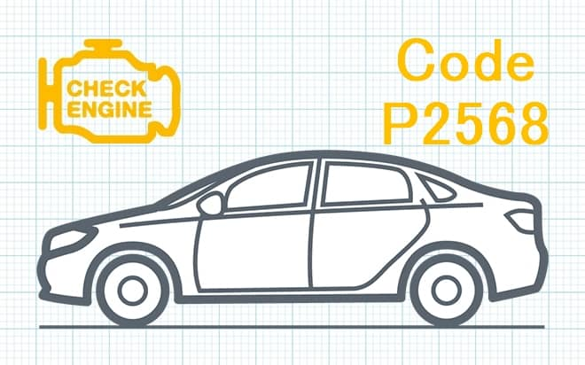 Код ошибки P2568 – несоответствие диапазона рабочих характеристик электрической цепи датчика температуры катализатора прямого восстановления озона